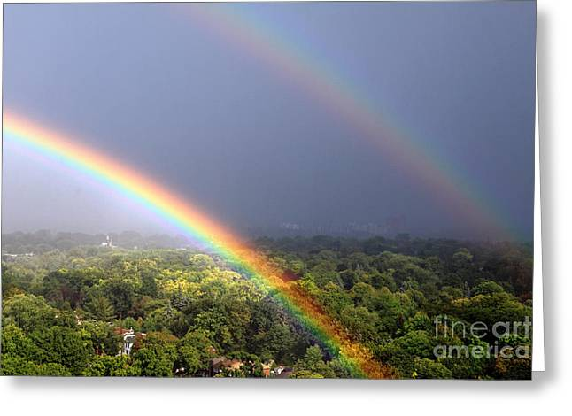 Double Rainbow Greeting Cards - August Double Rainbow Greeting Card by Charline Xia