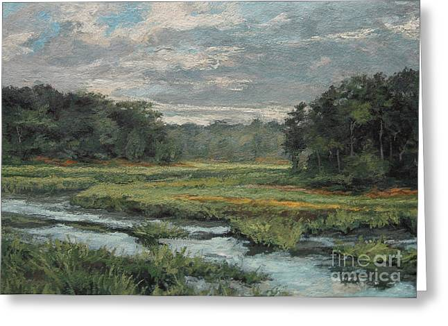 Gregory Arnett Paintings Greeting Cards - August Evening - Wellfleet Greeting Card by Gregory Arnett