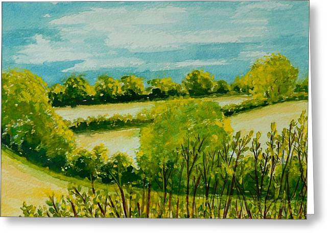 Suffolk Greeting Cards - August Landscape Suffolk Greeting Card by Joan Thewsey