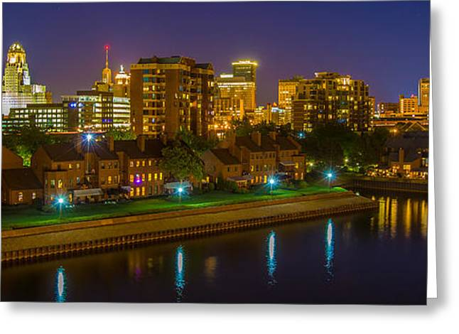City Hall Greeting Cards - August Night In Buffalo Greeting Card by Don Nieman