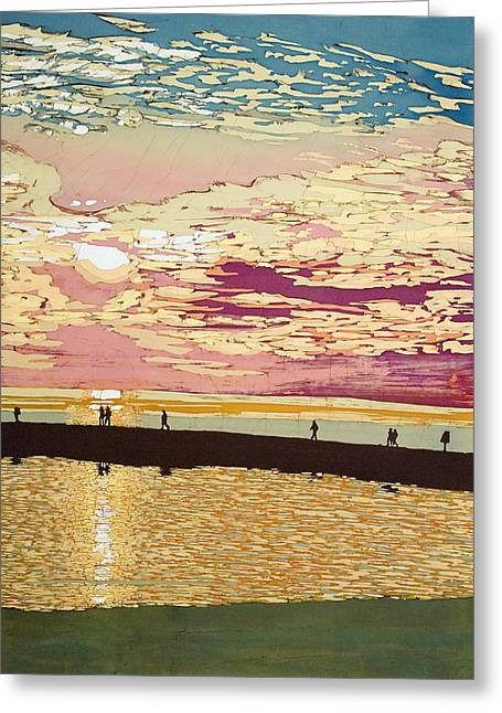 Sunset Tapestries - Textiles Greeting Cards - August Pier Sunset  Greeting Card by Terri Haugen