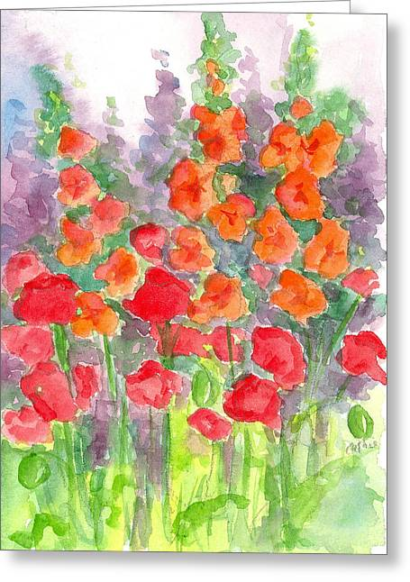 Gladiolas Drawings Greeting Cards - August Poppies Greeting Card by Cathie Richardson