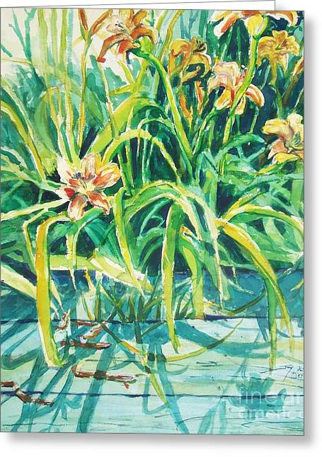 Day Lilly Paintings Greeting Cards - August Shadows Greeting Card by Joy Nichols