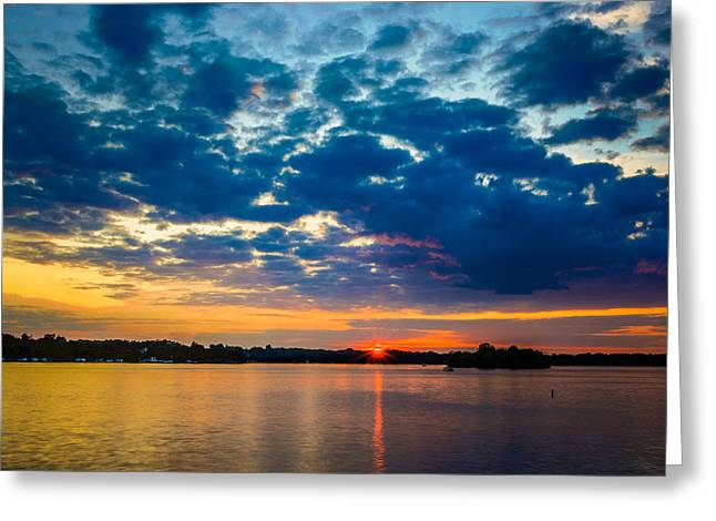 Refelctions Greeting Cards - August Sunset Over Lake Nagawicka Greeting Card by Randy Scherkenbach