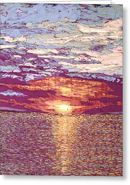 Lake Tapestries - Textiles Greeting Cards - August Sunset  Greeting Card by Terri Haugen