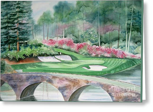 Golf Hole Greeting Cards - Augusta National 12th Hole Greeting Card by Deborah Ronglien