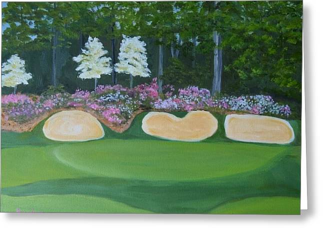 Hole 12 Greeting Cards - Augusta National Hole 12 Greeting Card by Sally Jones