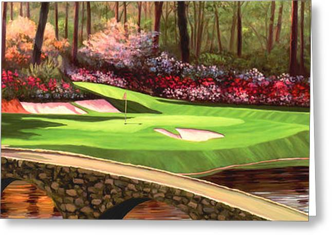 Hole 12 Greeting Cards - Augustas 12 Hole 28x9 Greeting Card by Tim Gilliland