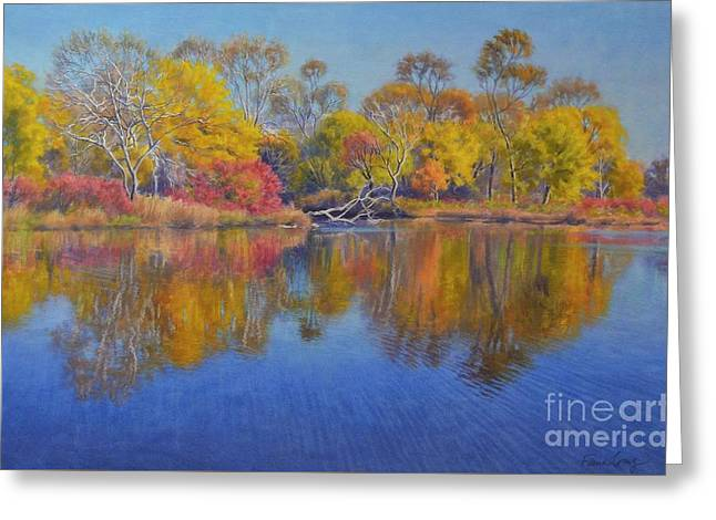 Nature Scene Pastels Greeting Cards - Autumn Glow 1 Greeting Card by Fiona Craig