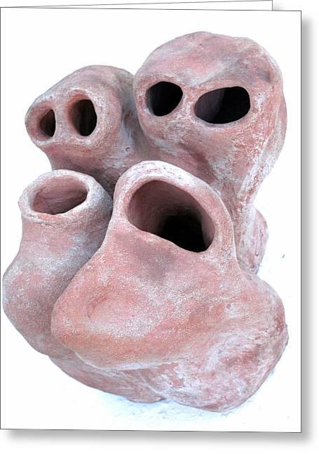 Ceramic Sculptures Greeting Cards - Aullidos 1 Greeting Card by Jorge Berlato