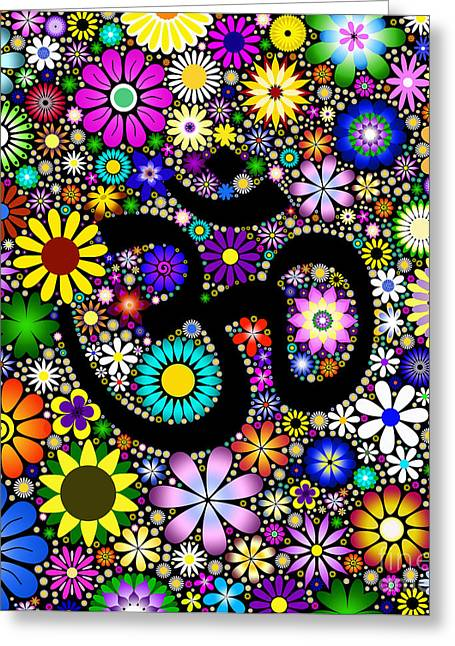 Sacred Digital Art Greeting Cards - AUM Flowers Greeting Card by Tim Gainey
