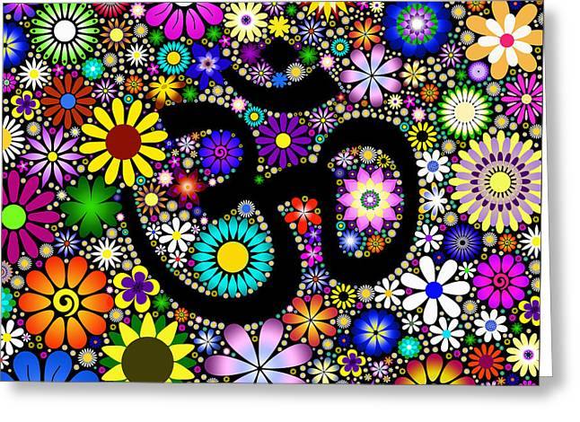 Aum Flowers Greeting Card by Tim Gainey