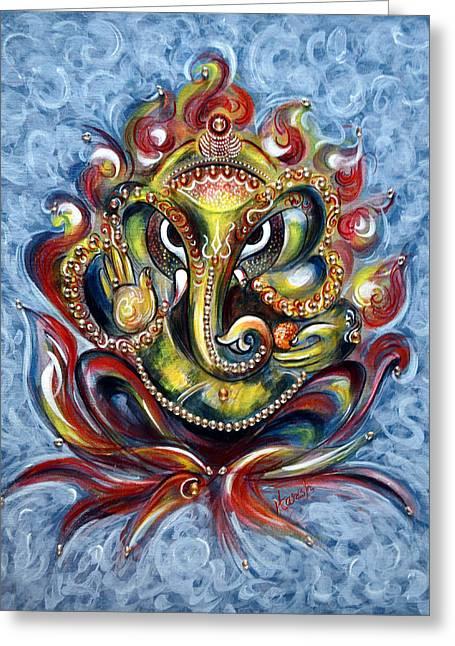 Aum Ganesha Greeting Card by Harsh Malik