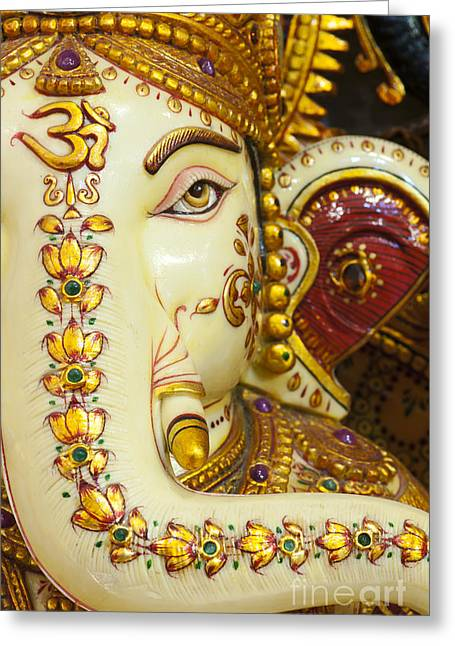 Obstacles Greeting Cards - AUM Ganesha Greeting Card by Tim Gainey