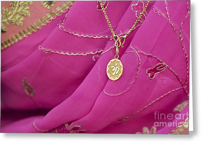 Sari Greeting Cards - Aum Pendant Greeting Card by Tim Gainey