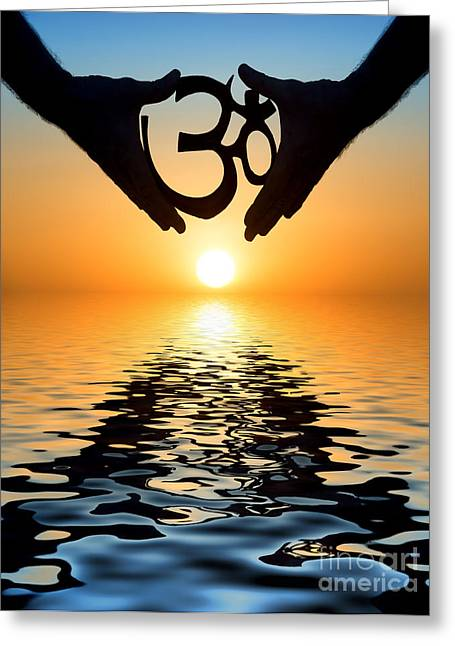 Devotional Greeting Cards - Aum Greeting Card by Tim Gainey