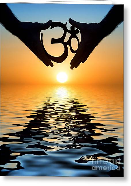 Enlightenment Greeting Cards - Aum Greeting Card by Tim Gainey