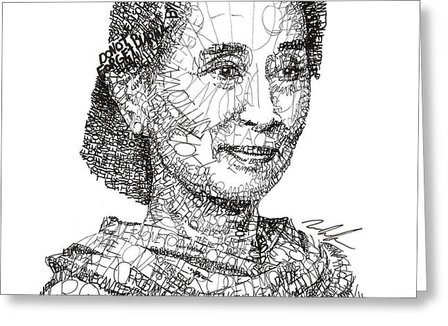 Presidential Medal Of Freedom Drawings Greeting Cards - Aung San Suu Kyi Greeting Card by Michael  Volpicelli