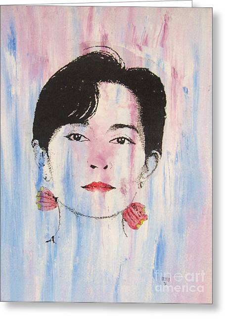 Nobel Prize Winner Greeting Cards - Aung San Suu Kyi Greeting Card by Roberto Prusso
