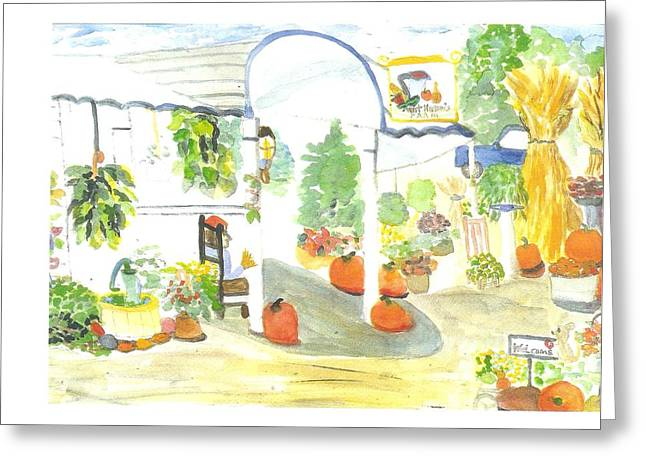 Farm Stand Paintings Greeting Cards - Aunt Helens Farm Greeting Card by Thelma Harcum