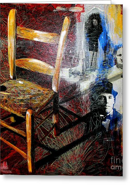 Genealogy Mixed Media Greeting Cards - Aunt Sals Chair Greeting Card by Rebecca Myers