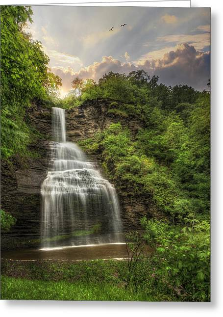 Schuyler County New York Greeting Cards - Aunt Sarahs Falls Greeting Card by Lori Deiter