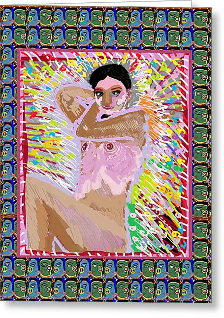 Marathon Champion Greeting Cards - Aura Art Effect of Love in Heart Showering Sparkle Colors Navin Joshi Rights Managed Images Graphic  Greeting Card by Navin Joshi