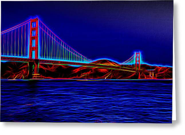 Famous Bridge Greeting Cards - Aura of the Golden Gate Bridge  Greeting Card by John Bailey