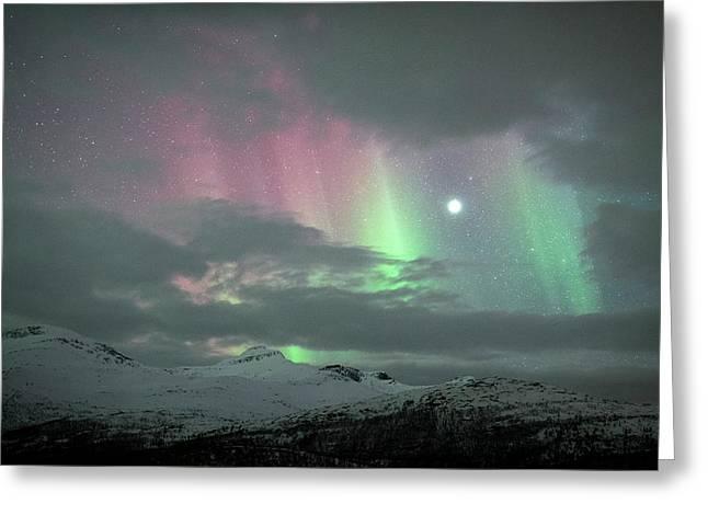 Aurora Borealis And Jupiter Greeting Card by Tommy Eliassen