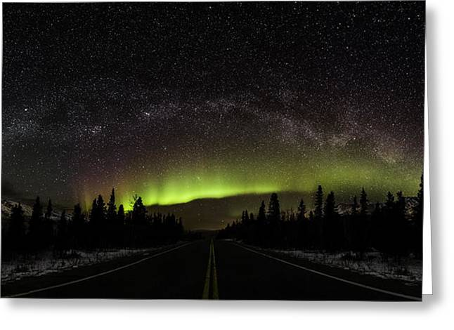 Winter Night Greeting Cards - Aurora Borealis and Milky Way Greeting Card by Sean Kurdziolek