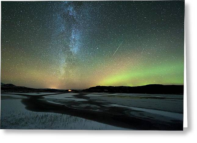 Aurora Borealis And Orionids Greeting Card by Tommy Eliassen