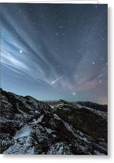 Aurora Borealis And Shooting Star Greeting Card by Tommy Eliassen
