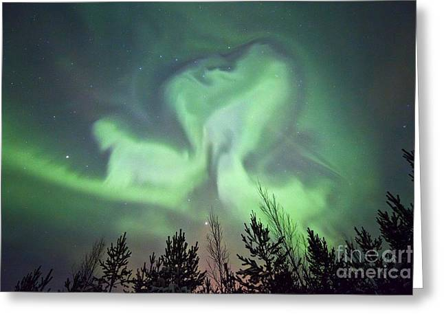 Discharging Greeting Cards - Aurora Borealis Greeting Card by Dr Juerg Alean