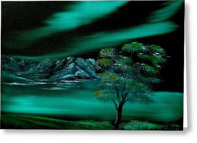 Bob Ross Paintings Greeting Cards - Aurora Borealis in Oils. Greeting Card by Cynthia Adams