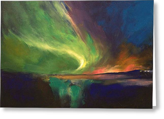 3d Artist Greeting Cards - Aurora Borealis Greeting Card by Michael Creese
