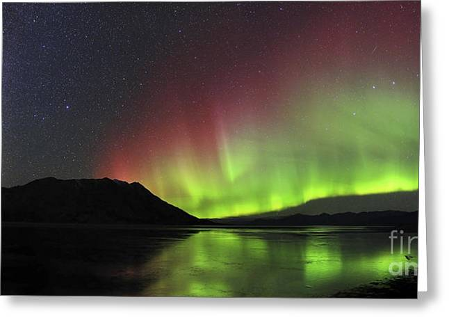 Best Sellers -  - Reflection In Water Greeting Cards - Aurora Borealis Milky Way And Big Greeting Card by Joseph Bradley