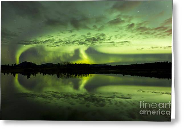 Reflections Of Sky In Water Greeting Cards - Aurora Borealis Over Fish Lake Greeting Card by Joseph Bradley