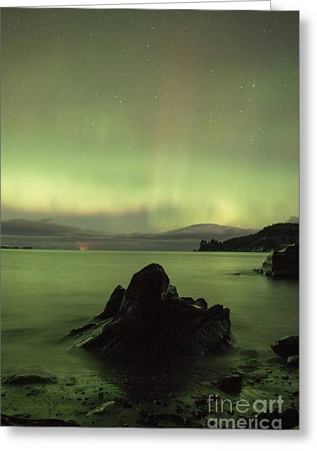 Kodiak Pyrography Greeting Cards - Aurora Borealis over Fort Abercrombie  Greeting Card by Jason Thill