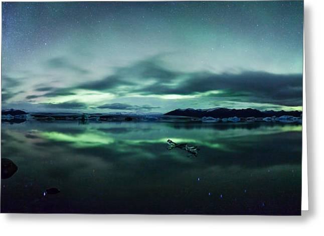 Aurora Lake Greeting Cards - Aurora borealis over glacial lagoon in Iceland Greeting Card by Matteo Colombo