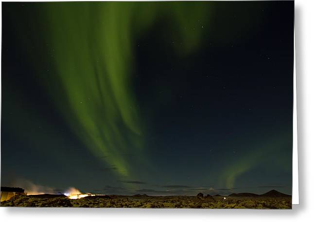 Aurora Borealis over Iceland Greeting Card by Andres Leon