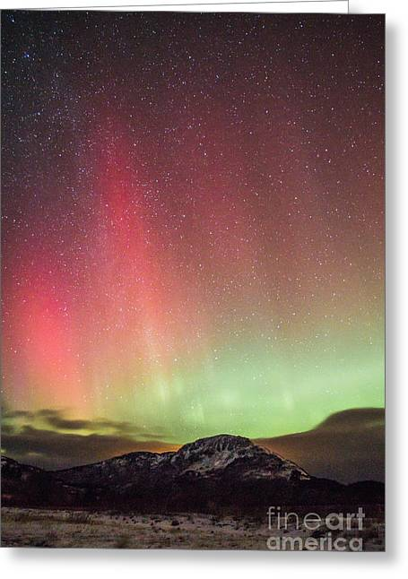 Kodiak Pyrography Greeting Cards - Aurora Borealis over Monashka Mt Greeting Card by Jason Thill