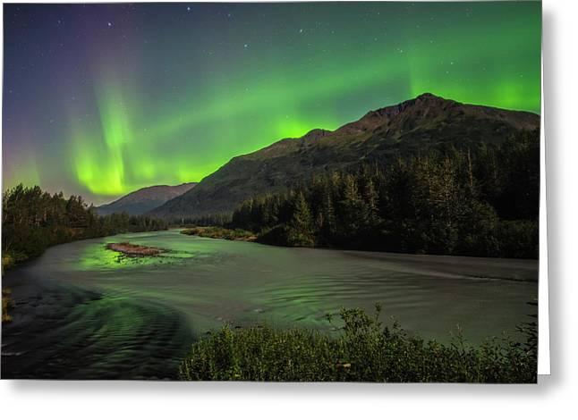 Aurora Borealis Over Portage Creek Greeting Card by Carl Johnson