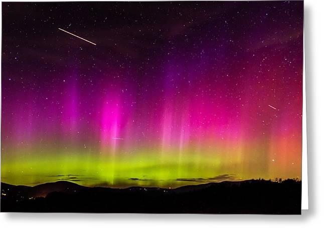 Aurora Borealis Over The Camden Hills Greeting Card by Tim Sullivan