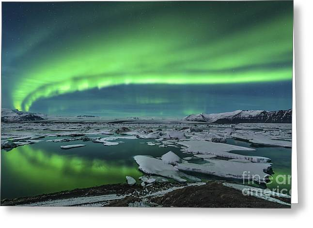 Reflections Of Sky In Water Greeting Cards - Aurora Borealis Over The Glacial Lagoon Greeting Card by John Davis