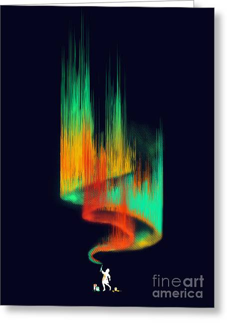 Effect Greeting Cards - Aurora Borealis painter Greeting Card by Budi Satria Kwan