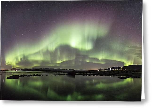Norway Beach Greeting Cards - Aurora Borealis panorama Greeting Card by Frank Olsen