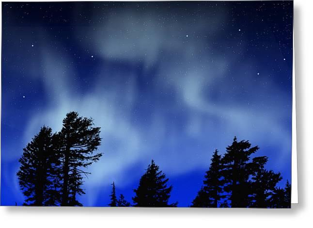 Glow Murals Greeting Cards - Aurora Borealis Wall Mural Greeting Card by Frank Wilson