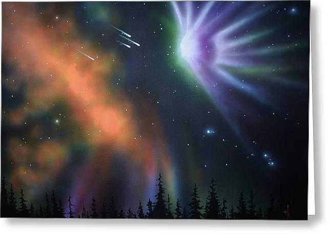 Glow Murals Greeting Cards - Aurora Borealis with 4 shooting stars Greeting Card by Thomas Kolendra