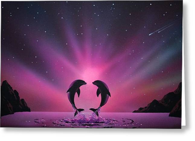 Glow Murals Greeting Cards - Aurora Borealis with two Dolphins Greeting Card by Thomas Kolendra