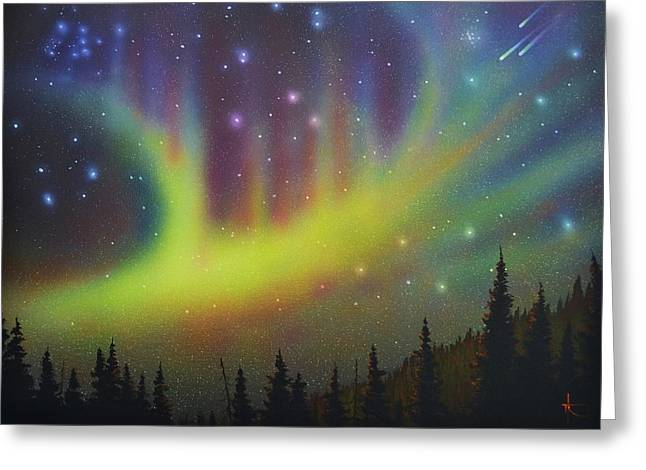 Glow Murals Greeting Cards - Aurora Borealis yellow streak Greeting Card by Thomas Kolendra
